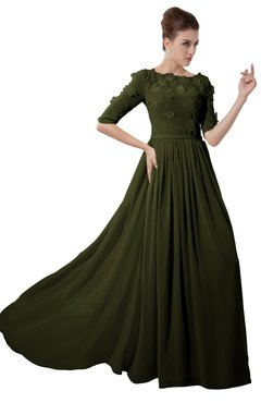 ColsBM Rene Beech Bridesmaid Dresses Boat Flower A-line Elastic Elbow Length Sleeve Hawaiian