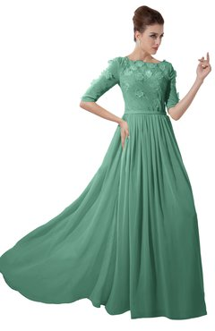 ColsBM Rene Beryl Green Bridesmaid Dresses Boat Flower A-line Elastic Elbow Length Sleeve Hawaiian
