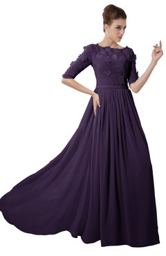 ColsBM Rene Blackberry Cordial Bridesmaid Dresses Boat Flower A-line Elastic Elbow Length Sleeve Hawaiian