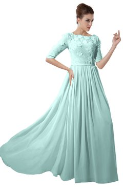 ColsBM Rene Blue Glass Bridesmaid Dresses Boat Flower A-line Elastic Elbow Length Sleeve Hawaiian