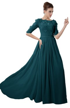 ColsBM Rene Blue Green Bridesmaid Dresses Boat Flower A-line Elastic Elbow Length Sleeve Hawaiian