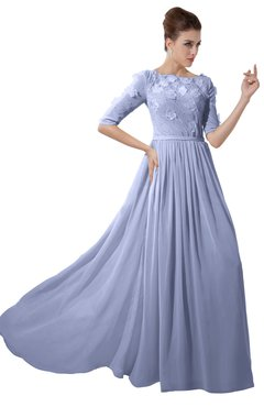 ColsBM Rene Blue Heron Bridesmaid Dresses Boat Flower A-line Elastic Elbow Length Sleeve Hawaiian