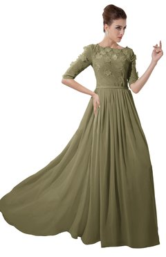 ColsBM Rene Boa Bridesmaid Dresses Boat Flower A-line Elastic Elbow Length Sleeve Hawaiian