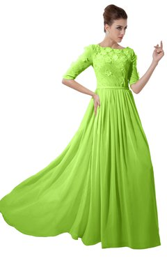 ColsBM Rene Bright Green Bridesmaid Dresses Boat Flower A-line Elastic Elbow Length Sleeve Hawaiian