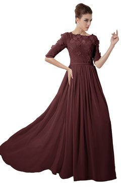 ColsBM Rene Root Beer Bridesmaid Dresses Boat Flower A-line Elastic Elbow Length Sleeve Hawaiian