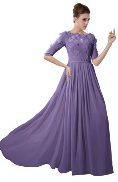 ColsBM Rene Chalk Violet Bridesmaid Dresses Boat Flower A-line Elastic Elbow Length Sleeve Hawaiian