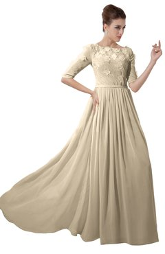 ColsBM Rene Champagne Bridesmaid Dresses Boat Flower A-line Elastic Elbow Length Sleeve Hawaiian
