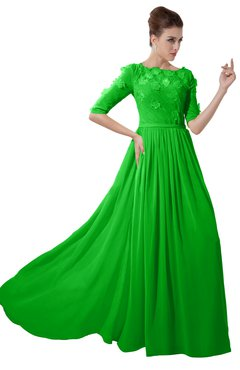 ColsBM Rene Classic Green Bridesmaid Dresses Boat Flower A-line Elastic Elbow Length Sleeve Hawaiian