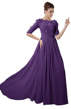 ColsBM Rene Dark Purple Bridesmaid Dresses Boat Flower A-line Elastic Elbow Length Sleeve Hawaiian