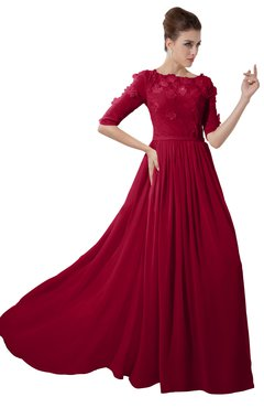 ColsBM Rene Dark Red Bridesmaid Dresses Boat Flower A-line Elastic Elbow Length Sleeve Hawaiian