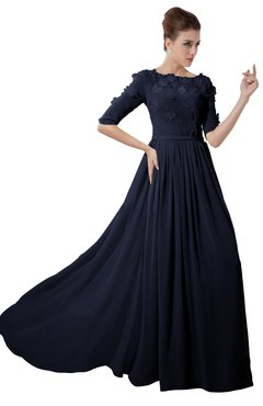 ColsBM Rene Dark Sapphire Bridesmaid Dresses Boat Flower A-line Elastic Elbow Length Sleeve Hawaiian