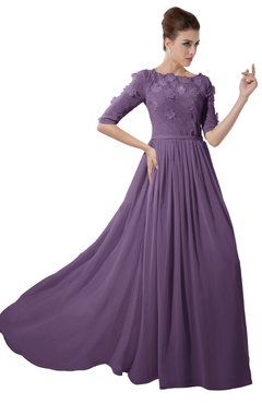 ColsBM Rene Eggplant Bridesmaid Dresses Boat Flower A-line Elastic Elbow Length Sleeve Hawaiian