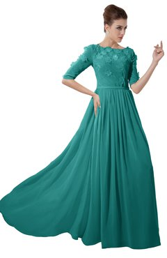 ColsBM Rene Emerald Green Bridesmaid Dresses Boat Flower A-line Elastic Elbow Length Sleeve Hawaiian