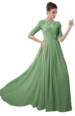 ColsBM Rene Fair Green Bridesmaid Dresses Boat Flower A-line Elastic Elbow Length Sleeve Hawaiian