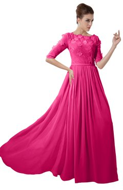 ColsBM Rene Fandango Pink Bridesmaid Dresses Boat Flower A-line Elastic Elbow Length Sleeve Hawaiian