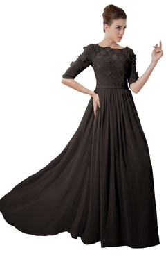 ColsBM Rene Fudge Brown Bridesmaid Dresses Boat Flower A-line Elastic Elbow Length Sleeve Hawaiian