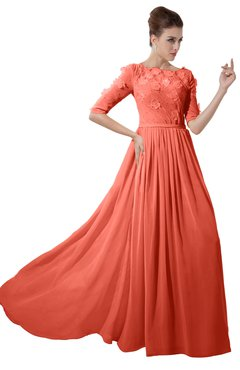 ColsBM Rene Fusion Coral Bridesmaid Dresses Boat Flower A-line Elastic Elbow Length Sleeve Hawaiian