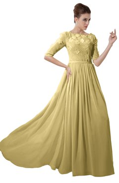 ColsBM Rene Gold Bridesmaid Dresses Boat Flower A-line Elastic Elbow Length Sleeve Hawaiian