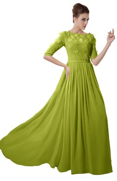 ColsBM Rene Green Oasis Bridesmaid Dresses Boat Flower A-line Elastic Elbow Length Sleeve Hawaiian