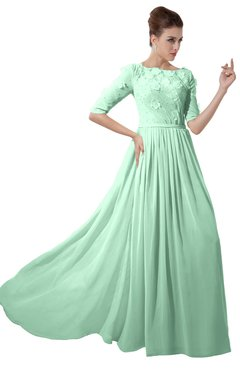 ColsBM Rene Honeydew Bridesmaid Dresses Boat Flower A-line Elastic Elbow Length Sleeve Hawaiian