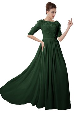 ColsBM Rene Hunter Green Bridesmaid Dresses Boat Flower A-line Elastic Elbow Length Sleeve Hawaiian
