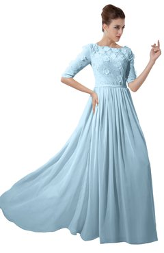 ColsBM Rene Ice Blue Bridesmaid Dresses Boat Flower A-line Elastic Elbow Length Sleeve Hawaiian