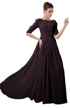 ColsBM Rene Italian Plum Bridesmaid Dresses Boat Flower A-line Elastic Elbow Length Sleeve Hawaiian