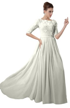 ColsBM Rene Ivory Bridesmaid Dresses Boat Flower A-line Elastic Elbow Length Sleeve Hawaiian