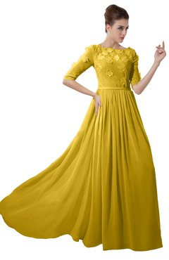 ColsBM Rene Lemon Curry Bridesmaid Dresses Boat Flower A-line Elastic Elbow Length Sleeve Hawaiian