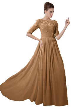 ColsBM Rene Light Brown Bridesmaid Dresses Boat Flower A-line Elastic Elbow Length Sleeve Hawaiian