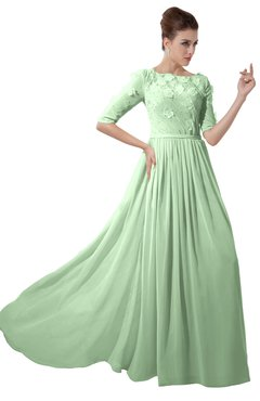 ColsBM Rene Light Green Bridesmaid Dresses Boat Flower A-line Elastic Elbow Length Sleeve Hawaiian