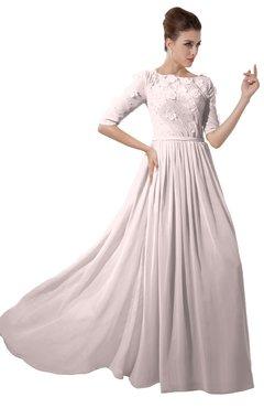 ColsBM Rene Light Pink Bridesmaid Dresses Boat Flower A-line Elastic Elbow Length Sleeve Hawaiian