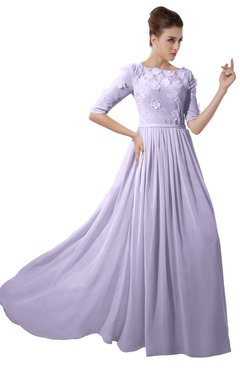 ColsBM Rene Light Purple Bridesmaid Dresses Boat Flower A-line Elastic Elbow Length Sleeve Hawaiian