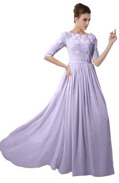 ColsBM Rene Light Purple Bridesmaid Dresses Boat Flower A-line Elastic Elbow Length Sleeve Hawaiian