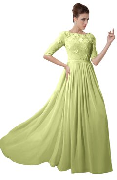 ColsBM Rene Lime Green Bridesmaid Dresses Boat Flower A-line Elastic Elbow Length Sleeve Hawaiian