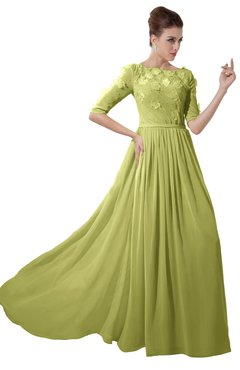 ColsBM Rene Linden Green Bridesmaid Dresses Boat Flower A-line Elastic Elbow Length Sleeve Hawaiian