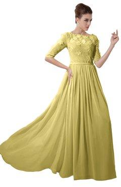 ColsBM Rene Misted Yellow Bridesmaid Dresses Boat Flower A-line Elastic Elbow Length Sleeve Hawaiian