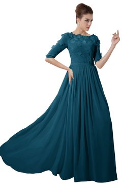 ColsBM Rene Moroccan Blue Bridesmaid Dresses Boat Flower A-line Elastic Elbow Length Sleeve Hawaiian