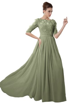 ColsBM Rene Moss Green Bridesmaid Dresses Boat Flower A-line Elastic Elbow Length Sleeve Hawaiian