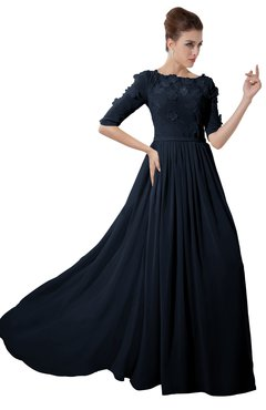 ColsBM Rene Navy Blue Bridesmaid Dresses Boat Flower A-line Elastic Elbow Length Sleeve Hawaiian
