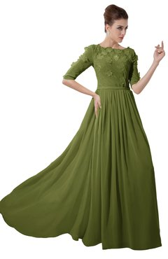 ColsBM Rene Olive Green Bridesmaid Dresses Boat Flower A-line Elastic Elbow Length Sleeve Hawaiian