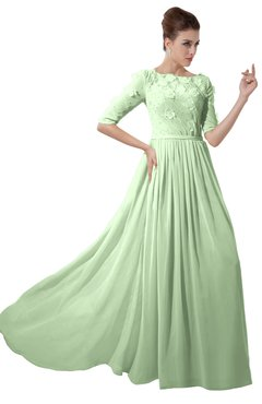 ColsBM Rene Pale Green Bridesmaid Dresses Boat Flower A-line Elastic Elbow Length Sleeve Hawaiian