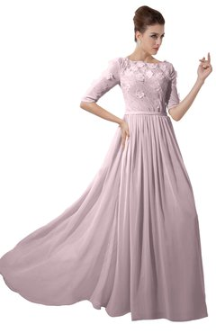 ColsBM Rene Pale Lilac Bridesmaid Dresses Boat Flower A-line Elastic Elbow Length Sleeve Hawaiian