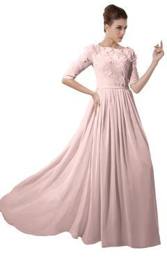 ColsBM Rene Pastel Pink Bridesmaid Dresses Boat Flower A-line Elastic Elbow Length Sleeve Hawaiian