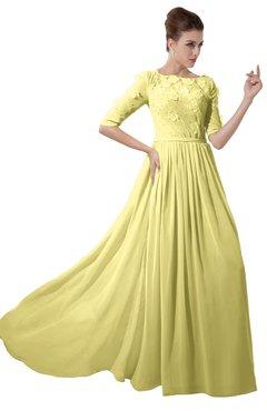 ColsBM Rene Pastel Yellow Bridesmaid Dresses Boat Flower A-line Elastic Elbow Length Sleeve Hawaiian