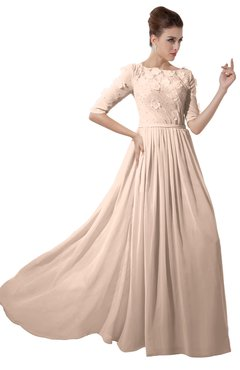 ColsBM Rene Peach Puree Bridesmaid Dresses Boat Flower A-line Elastic Elbow Length Sleeve Hawaiian