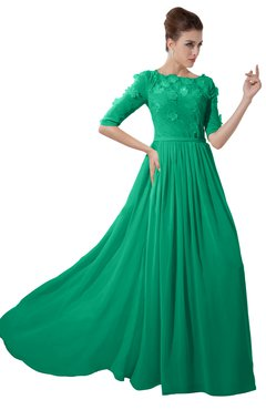 ColsBM Rene Pepper Green Bridesmaid Dresses Boat Flower A-line Elastic Elbow Length Sleeve Hawaiian