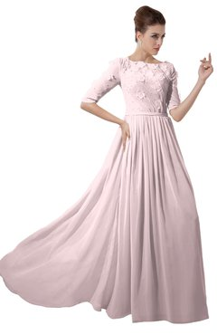 ColsBM Rene Petal Pink Bridesmaid Dresses Boat Flower A-line Elastic Elbow Length Sleeve Hawaiian