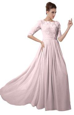 ColsBM Rene Petal Pink Bridesmaid Dresses Boat Flower A-line Elastic Elbow Length Sleeve Hawaiian