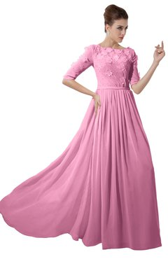 ColsBM Rene Pink Bridesmaid Dresses Boat Flower A-line Elastic Elbow Length Sleeve Hawaiian